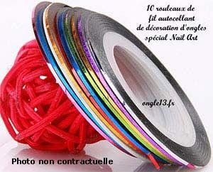 12 Rouleaux De Fil Fin Autocollant, Pour La Décoration De Lu0027ongle, Striping