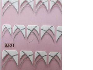 stickers french nail art blanc argenté